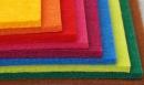 Barevné plsti v rolích - tloušťky 1, 2, 3 a 5 mm - 100% polyester