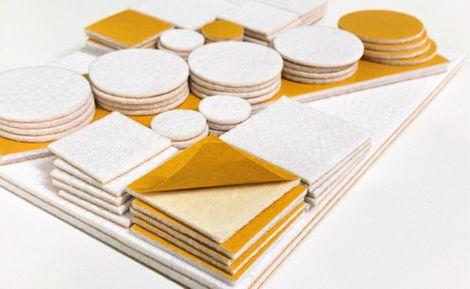Sada samolepících plstěných podložek - bílá, 84 ks, různé velikosti